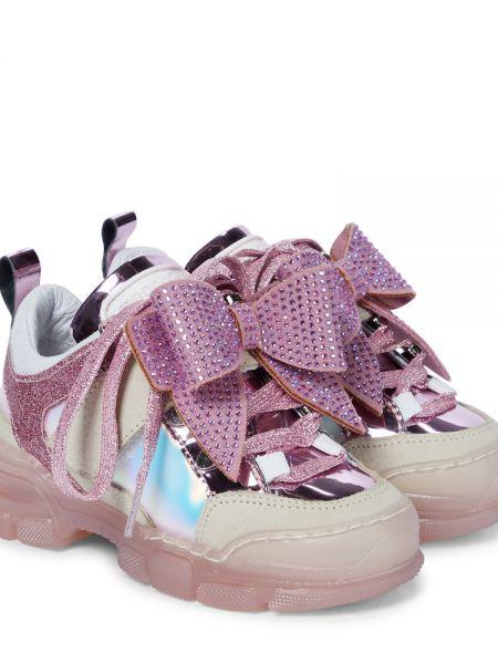 Кожаные кроссовки - розовые Monnalisa