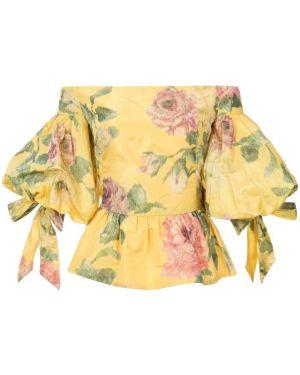 Блузка с открытыми плечами - желтая Marchesa