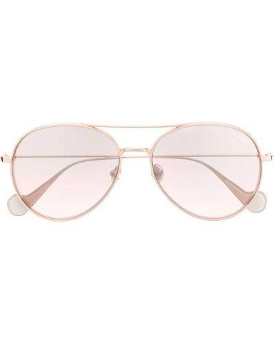 Золотистые желтые солнцезащитные очки круглые металлические Moncler Eyewear
