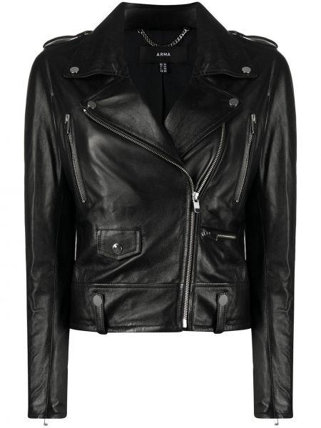 Классическая черная куртка на молнии с лацканами Arma