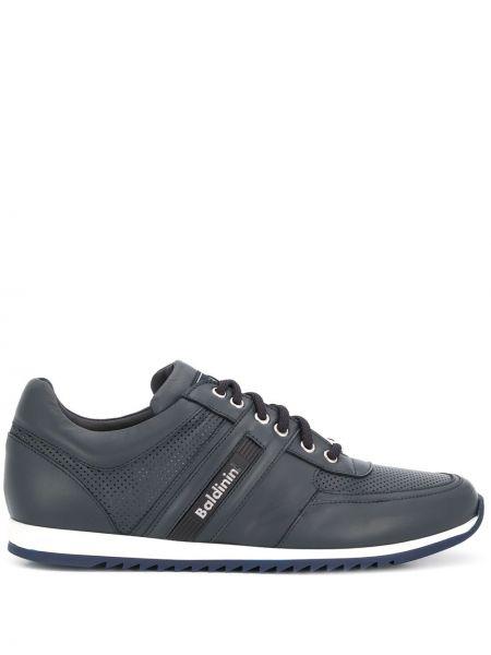Кожаные серебряные кроссовки с перфорацией с заплатками Baldinini