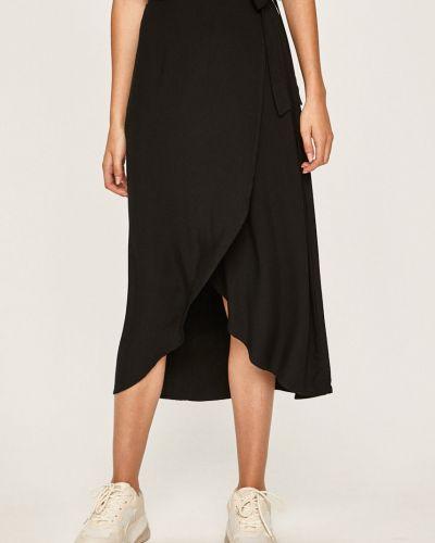 Черная расклешенная юбка миди на резинке в рубчик Answear