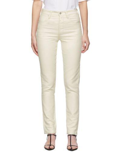 Białe jeansy bawełniane z paskiem Jil Sander