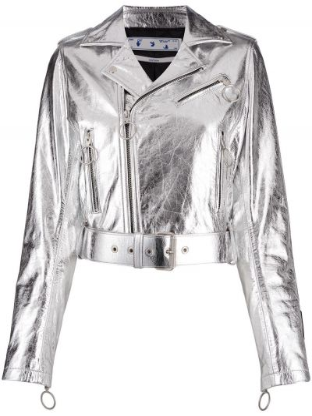 Biały skórzany długa kurtka z kieszeniami z długimi rękawami Off-white