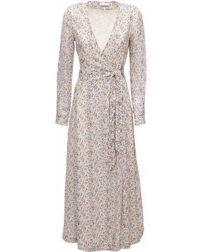 Платье с запахом - белое Ganni