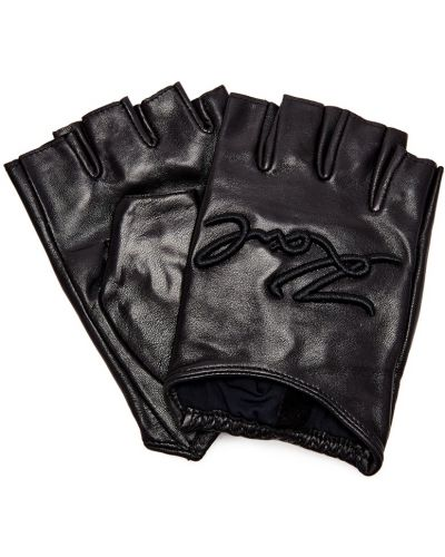 Кожаные перчатки эластичные черные Karl Lagerfeld