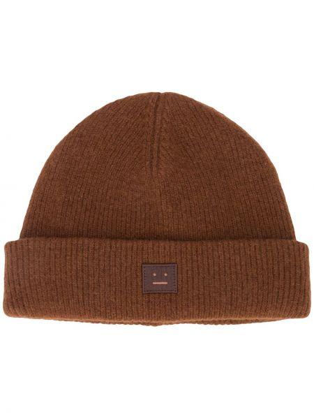 Trykotowy kapelusz z logo brązowy Acne Studios