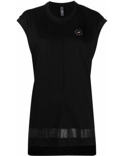Черная футболка с вырезом в полоску Adidas By Stella Mccartney
