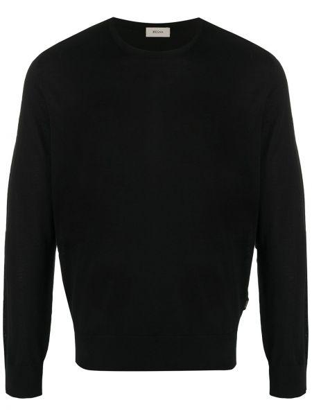 Czarna bluza z długimi rękawami wełniana Z Zegna