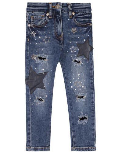 Прямые джинсы с эффектом потертости с аппликацией Monnalisa