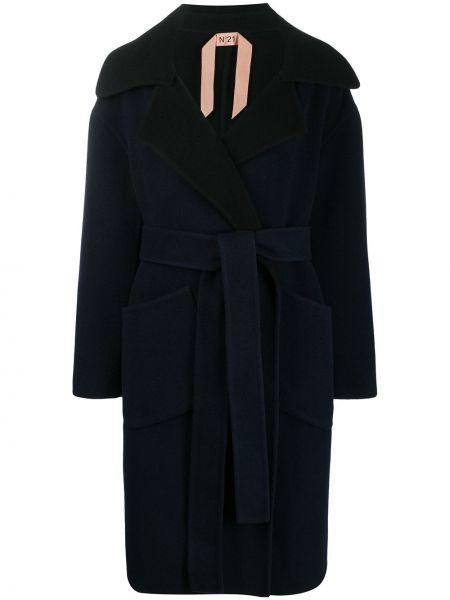 Шерстяное длинное пальто оверсайз с капюшоном N°21