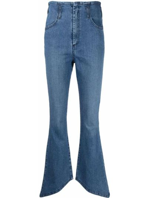 Хлопковые синие укороченные джинсы с карманами Federica Tosi