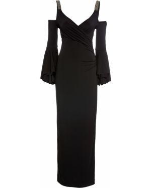 Вечернее платье с открытыми плечами черное Bonprix