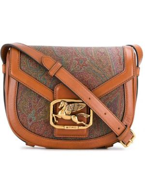 Коричневая сумка через плечо с перьями на молнии с карманами Etro