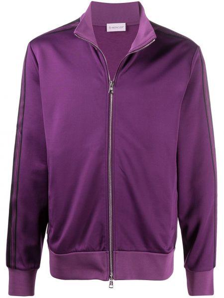 Prosto fioletowy długa kurtka z kieszeniami z długimi rękawami Moncler
