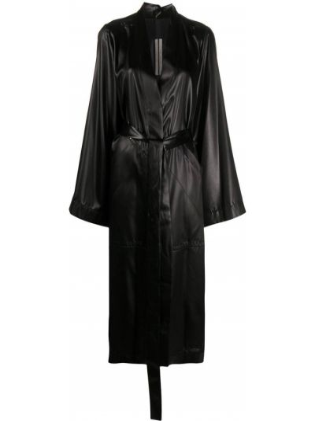 Czarny długi płaszcz z kieszeniami z klapami z długimi rękawami Rick Owens