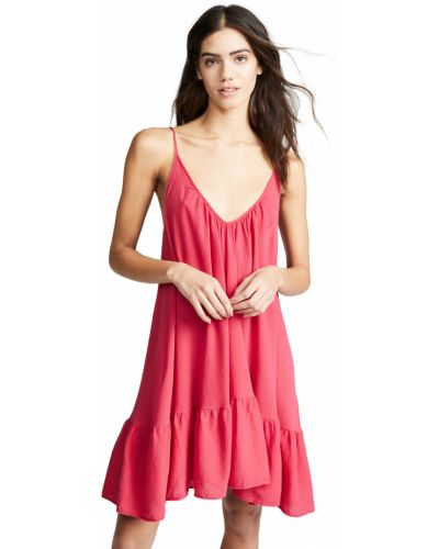 Хлопковое красное платье мини с V-образным вырезом 9seed
