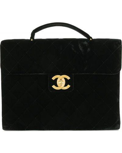 Черный портфель с карманами на молнии Chanel Pre-owned