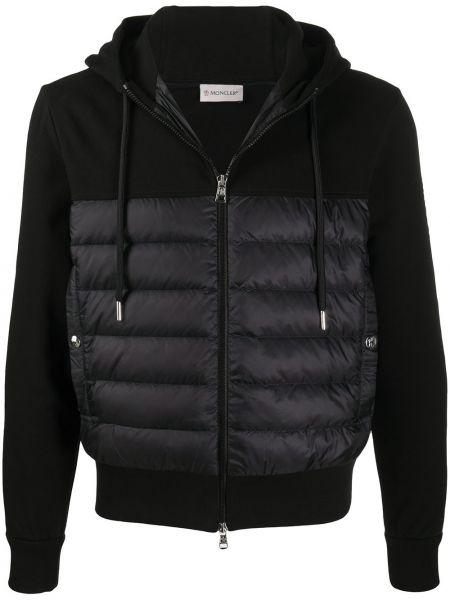 Czarny bawełna bawełna kurtka z kapturem Moncler