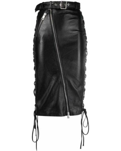 С завышенной талией черная кожаная юбка миди Manokhi