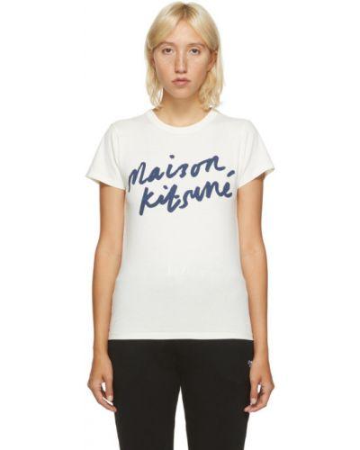 Хлопковая белая классическая рубашка с воротником с короткими рукавами Maison Kitsuné
