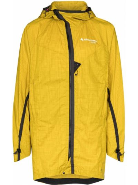 Ватная хлопковая спортивная желтая куртка с капюшоном Klättermusen