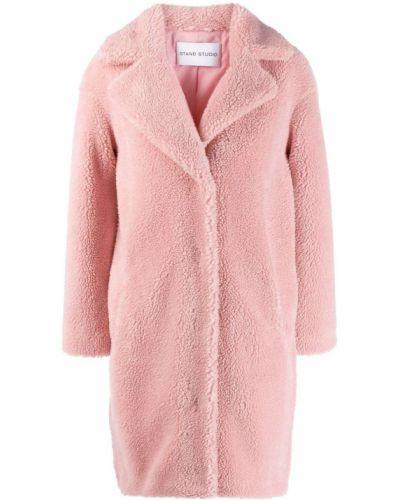 Прямое розовое длинное пальто с воротником Stand