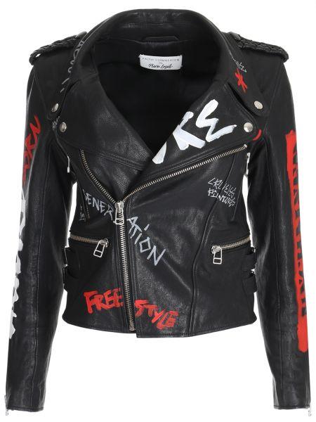 Кожаная куртка черная на молнии Faith Connexion