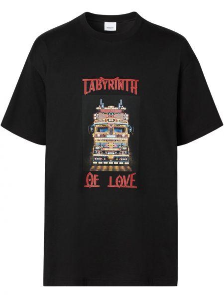 Bawełna czarny koszula z krótkim rękawem z łatami przeoczenie Burberry