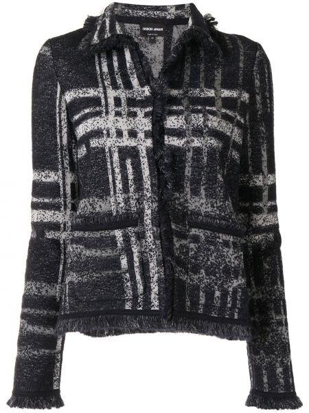 Черный приталенный классический пиджак в клетку Giorgio Armani