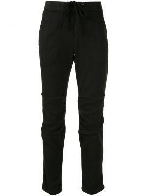 С кулиской хлопковые черные брюки с карманами James Perse