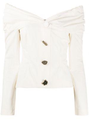 Открытая с рукавами белая блузка Rejina Pyo