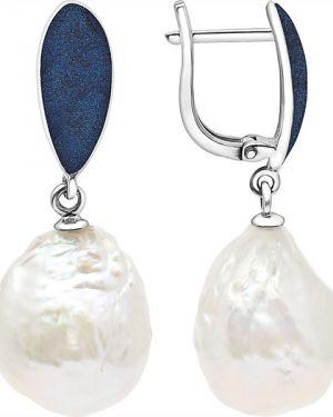 Серебряные серьги с жемчугом удлиненные De Fleur