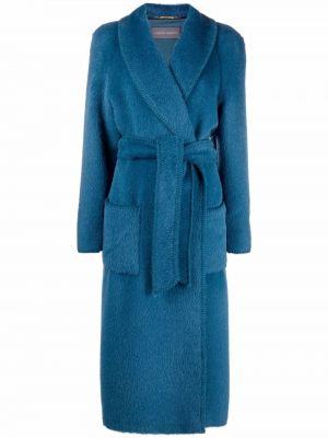 Синее пальто длинное Alberta Ferretti