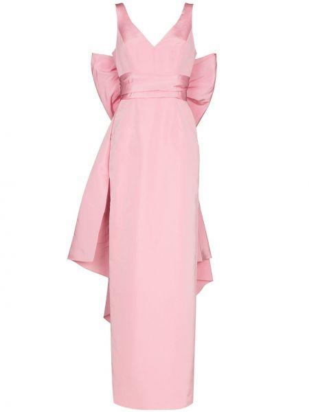 Różowa sukienka długa z jedwabiu bez rękawów Carolina Herrera