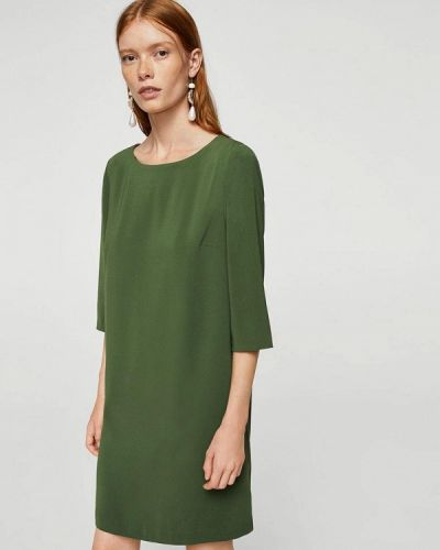 Зеленое платье прямое Mango