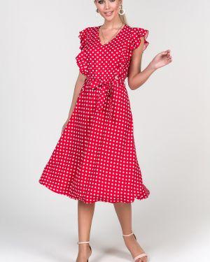 Платье с поясом в горошек платье-сарафан Valentina