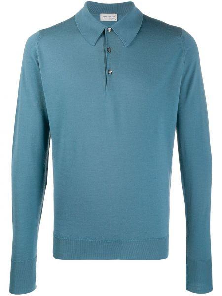 Koszulka polo długo niebieski John Smedley