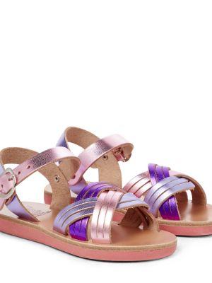Мягкие фиолетовые кожаные сандалии-гладиаторы Ancient Greek Sandals Kids