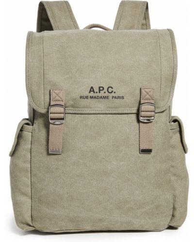 Текстильный рюкзак хаки с карманами A.p.c.