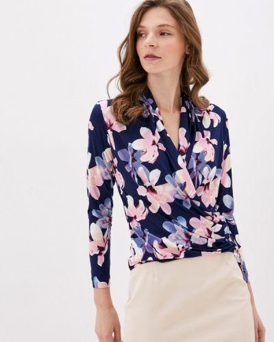 С рукавами синяя блузка Арт-Деко