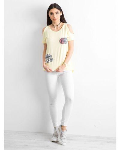 Żółty t-shirt bawełniany miejski Fashionhunters