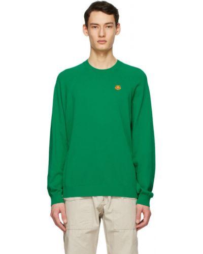 Зеленый длинный свитер с воротником с вышивкой Kenzo