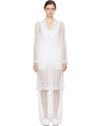 Satynowy biały długi płaszcz z paskiem Givenchy