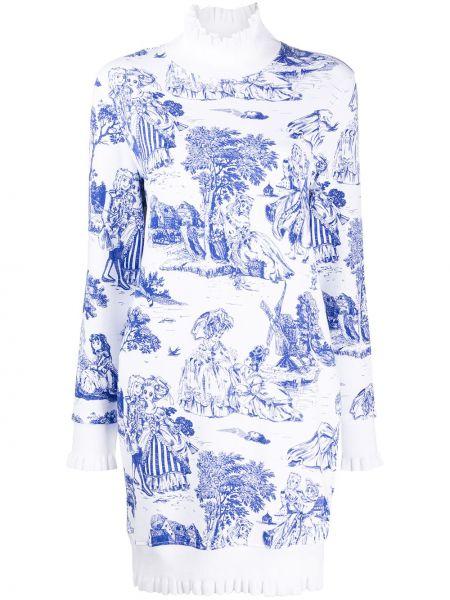 Вязаное белое платье макси с воротником Moschino