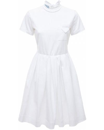 Хлопковое белое платье с воротником Prada