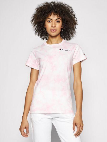 Różowy t-shirt z printem Champion