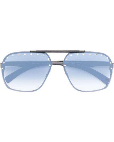 Czarne okulary srebrne miejskie Philipp Plein