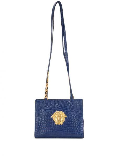 Золотистая синяя кожаная сумка на молнии с карманами Versace Pre-owned