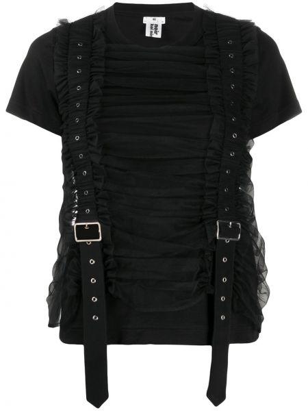 Черная рубашка с коротким рукавом с поясом из фатина с пряжкой Comme Des Garçons Noir Kei Ninomiya